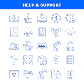Insieme dell'icona della linea di aiuto e supporto