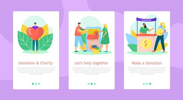 Aiuto e supporto mobile, illustrazione. concetto di assistenza sociale, persone di beneficenza danno set di donazioni. volontariato senza scopo di lucro con un cuore enorme, domanda di fondi modello.