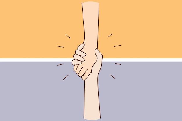Aiutare il concetto di assistenza per il supporto della mano