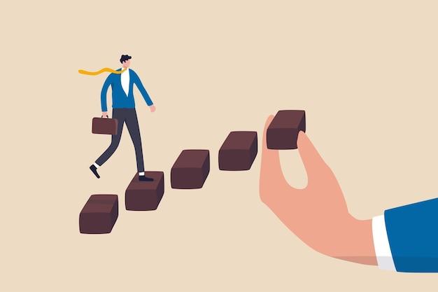 Aiutando la mano a sostenere lo sviluppo della carriera, la scala o la scala del concetto di successo