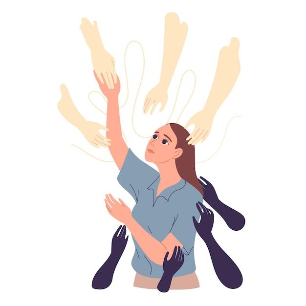 Le mani aiutanti sono tese alla ragazza per il supporto, spera di uscire dalle sue difficoltà.