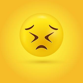 Faccia impotente con occhi scrunched o emoticon di tristezza 3d