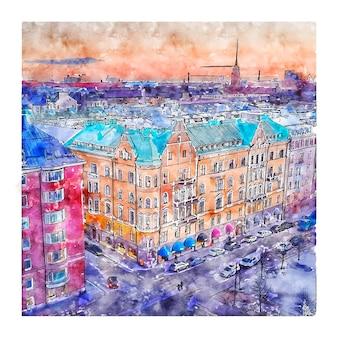 Illustrazione disegnata a mano di schizzo dell'acquerello di helsinki svezia