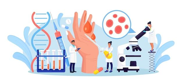 Emofilia. piccoli dottori esaminano la non coagulabilità del sangue. mano con una ferita sanguinante e non cicatrizzata. il medico cura il paziente con anemia, malattia del sangue. test dettagliato per globuli rossi, piastrine