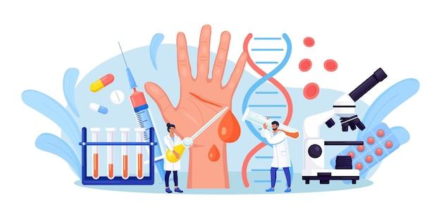 Emofilia. piccoli medici esaminano la non coagulabilità del sangue. mano con una ferita sanguinante e non cicatrizzata. il medico cura il paziente con anemia, malattia del sangue. test dettagliato per globuli rossi, piastrine