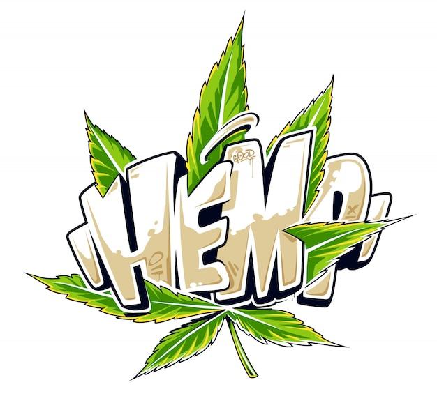 Canapa: scritte in stile graffiti con foglie di cannabis. illustrazione vettoriale di arte di strada digitale.
