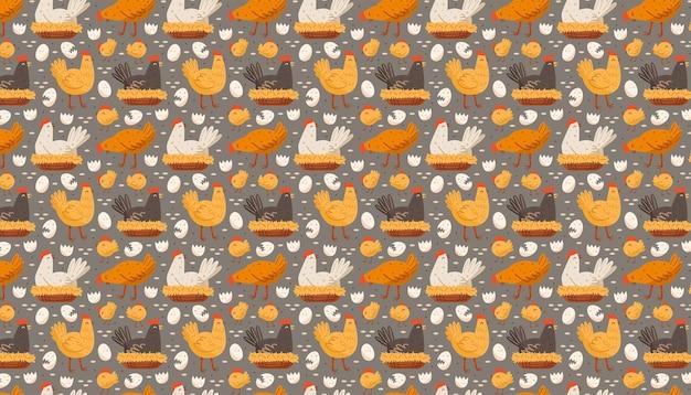 Gallina uccello gallo pollo uovo nido pasqua animali domestici animali domestici fattoria vita di campagna cibo ecologico