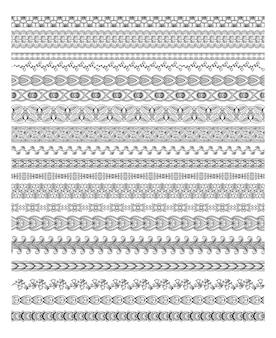 Henna border silhouettes vector illustration set per striscioni e decorazioni etniche
