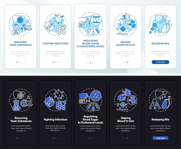 Funzioni epatiche durante l'integrazione della schermata della pagina dell'app mobile con concetti
