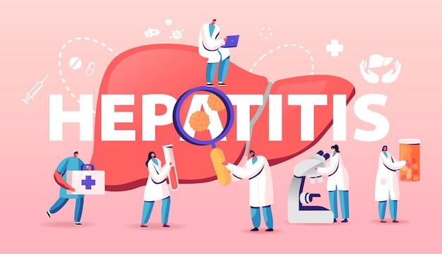 Concetto di diagnosi medica di epatite. illustrazione del fumetto