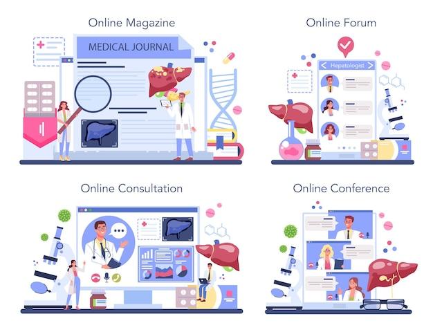 Servizio online di epatologo o set di piattaforme