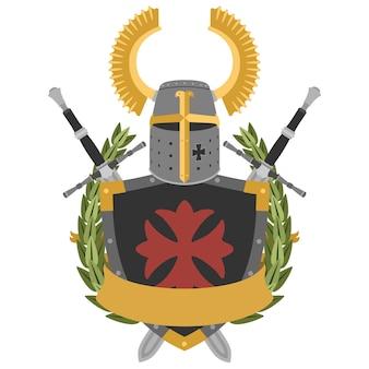 Cavaliere araldico in stile piatto