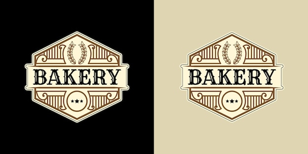 Modello di logo del negozio di panetteria vintage di lusso araldico con cornice decorativa emblema ornamentale