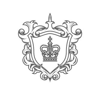Blasone monarca araldico, stemma imperiale con scudo Vettore Premium