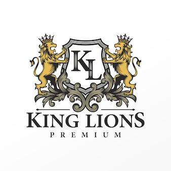 Design del logo del marchio del leone araldica