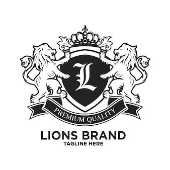 Modello di design di lusso del leone araldico