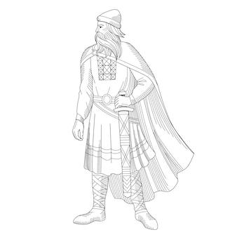 Heraldry.old principe russo con una spada in armatura. illustrazione vettoriale.