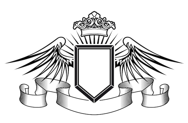 Scudo araldico con ali d'angelo, nastri e corona