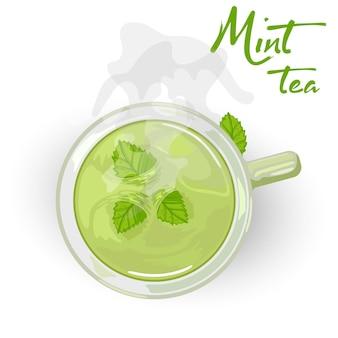 Tè salutare curativo a base di erbe con menta in tazza di ceramica.