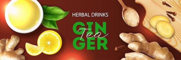 Banner orizzontale realistico di bevande a base di erbe