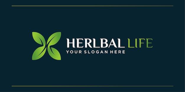 Logo di vita a base di erbe, salute, organico, azienda, natura,
