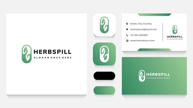 Modello di logo e biglietto da visita di pillole di farmaci a base di erbe