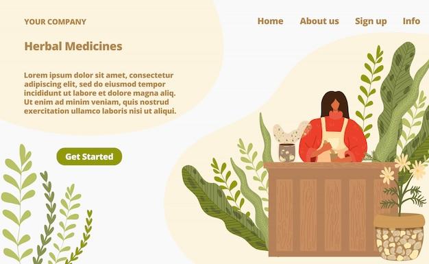 Medicina di erbe dall'illustrazione della pagina di atterraggio delle piante naturali. medicina complementare alternativa dalle erbe.