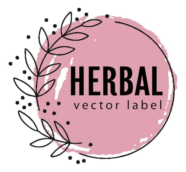 Emblema o striscione botanica a base di erbe e naturali vettore