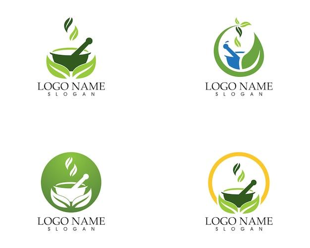 Modello di vettore di logo farmacia a base di erbe