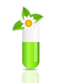 Icona della pillola di erbe. illustrazione di vettore del fondo dell'ambiente