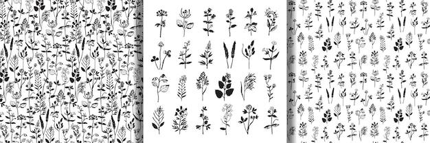 Set di sagome a base di erbe e modelli senza cuciture collezione floreale per tessuti di design e stampe per la casa