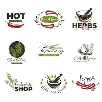 Erbe e spezie, pepe isolato e integratori culinari per alimenti e pietanze