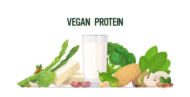 Orizzontale di concetto della proteina del vegano della composizione cruda naturale della latteria organica a base di latte del tofu della pianta delle verdure delle erbe