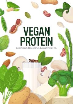Spazio verticale della copia del concetto della proteina del vegano della composizione dell'alimento crudo naturale caseario organico a base di latte del tofu della verdura delle erbe