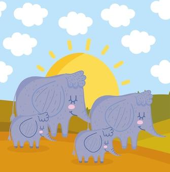 Cartone animato branco di elefanti