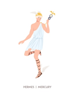 Hermes o mercurio - divinità del commercio, del commercio e dei mercanti del pantheon greco e romano, messaggero degli dei dell'olimpo. personaggio mitico maschile che indossa un elmo alato. illustrazione di vettore del fumetto piatto.