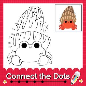 Il puzzle per bambini del granchio eremita collega il foglio di lavoro dei punti per i bambini che contano i numeri da 1 a 20