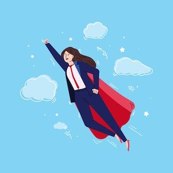 Donna d'affari eroe con super potere che vola in posa da supereroe