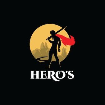 Eroe logo illustrazione vettoriale guerriero uomo