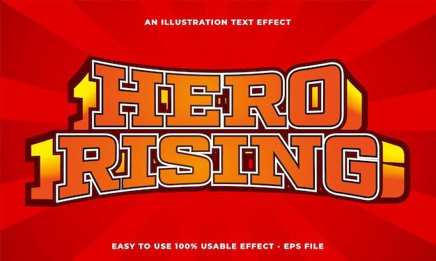 Effetto di testo in ascesa dell'eroe