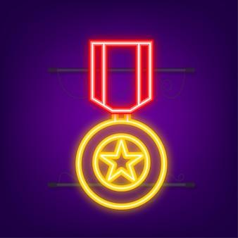 Eroe del premio stella d'oro dell'unione sovietica. icona al neon. grafica in movimento.