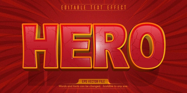 Testo dell'eroe, effetto di testo modificabile in stile cartone animato