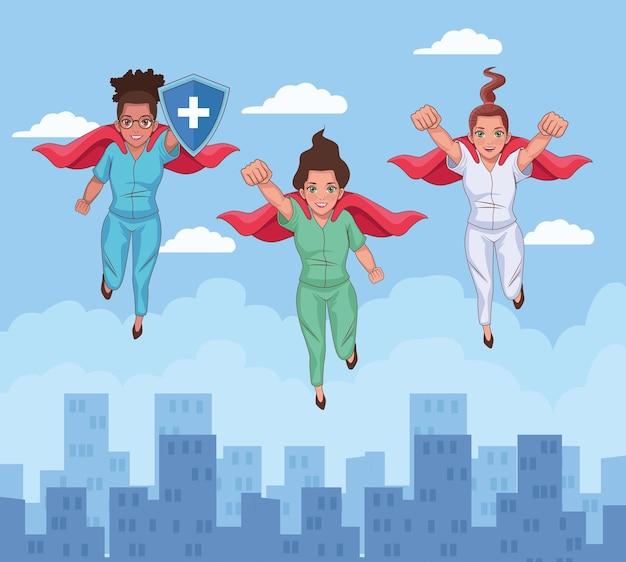 Personale medico di eroi che volano sullo sfondo di personaggi