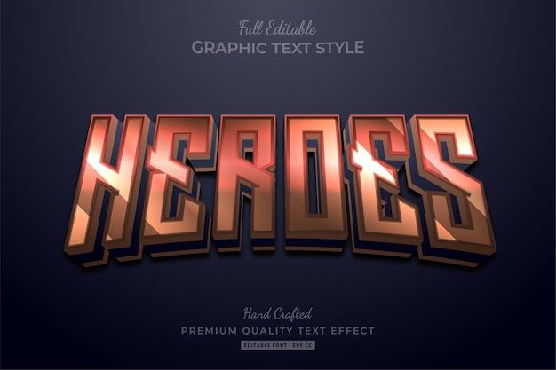Stile carattere modificabile per effetti di testo con titolo del film di heroes