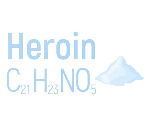 Etichetta dell'icona della formula chimica del concetto di eroina, illustrazione vettoriale dei caratteri di testo, isolata su bianco. tavola periodica degli elementi, roba che crea dipendenza.