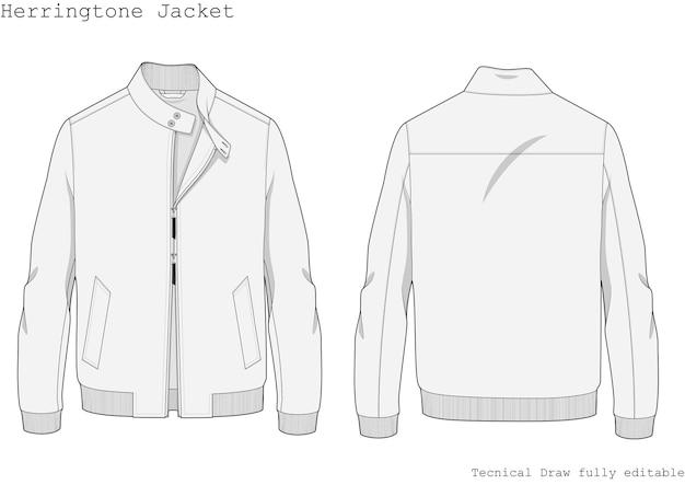 Disegno tecnico a mano giacca herringtone