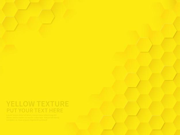 Trama esagonale. reticolo geometrico giallo del favo, scienza astratta della tecnologia di chimica