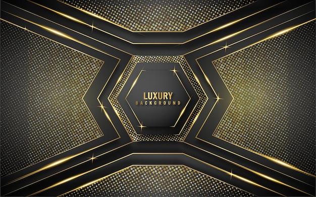 Sfondo di lusso nero e oro esagonale