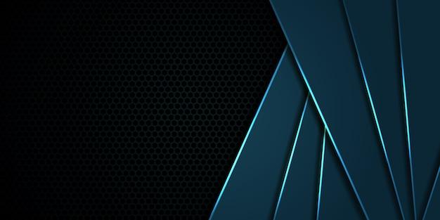 Sfondo esagonale in fibra di carbonio blu scuro con linee e riflessi luminosi blu. sfondo di tecnologia moderna.