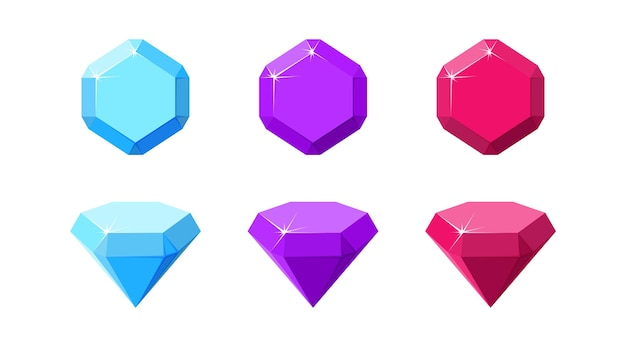 Gemme colorate esagonali rubino ametista e diamante vista dall'alto e laterale